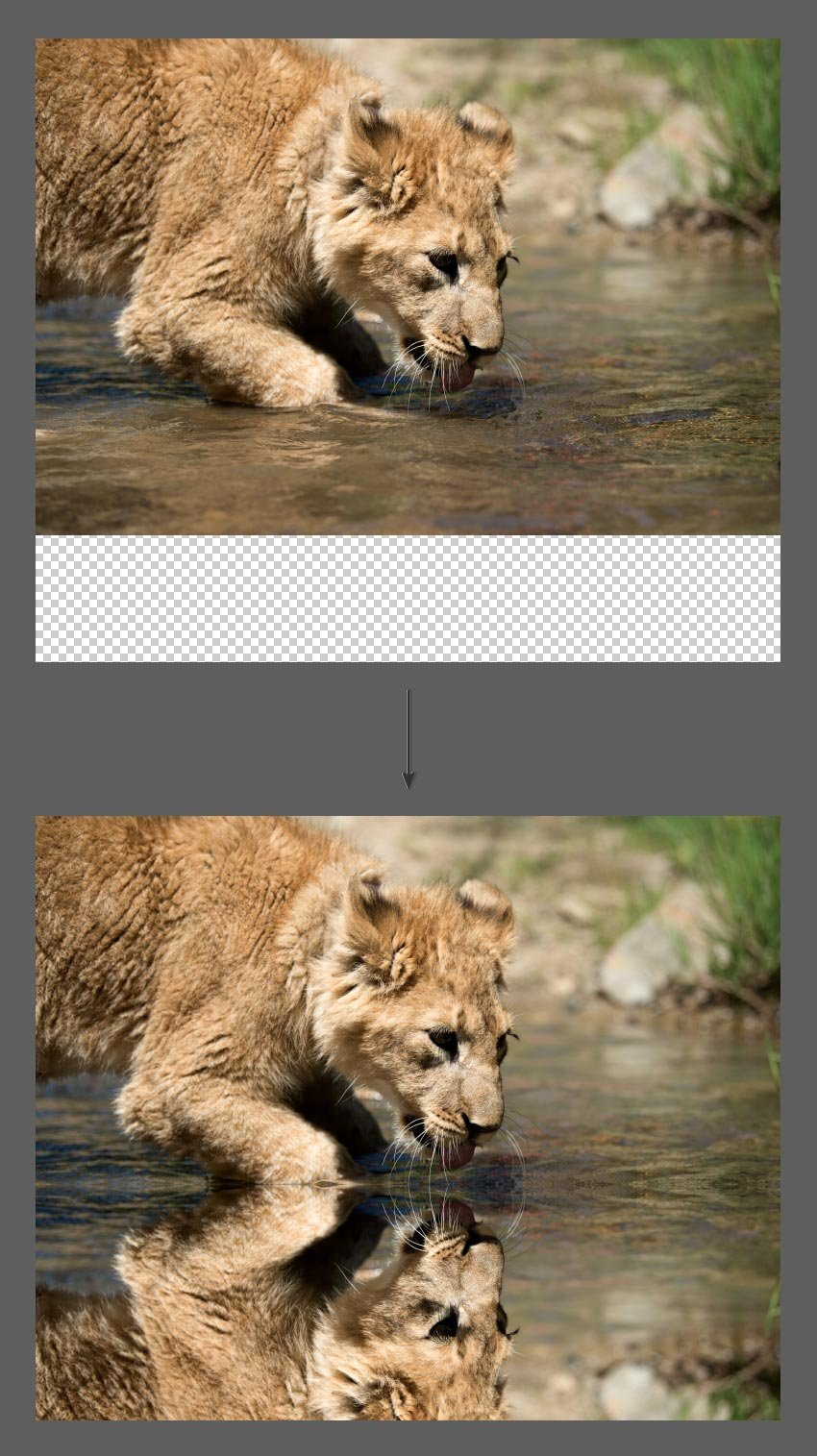 Move flipped Photoshop layer