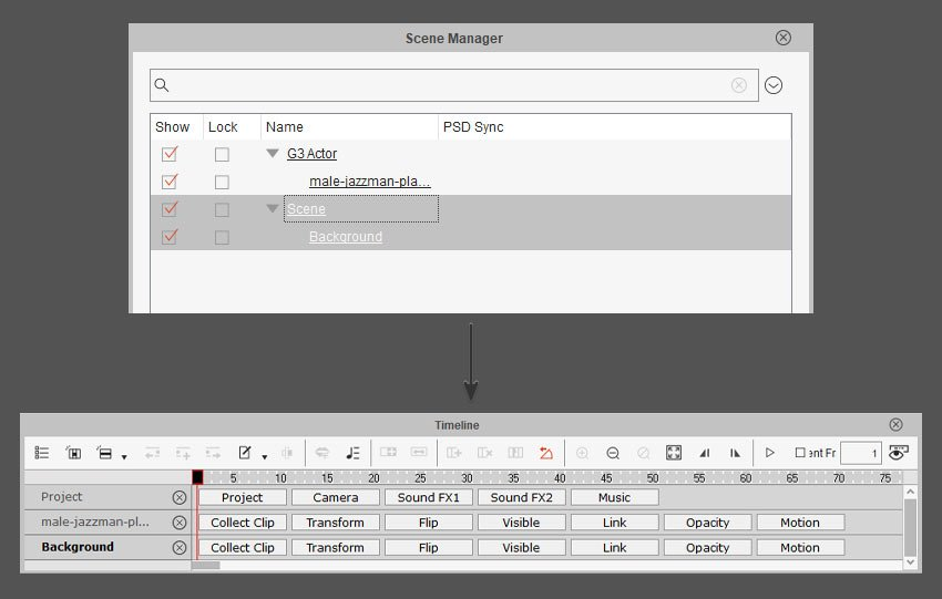 timeline and scene manager