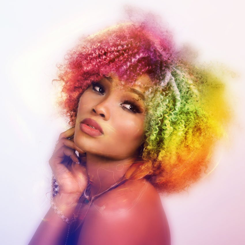 Image of woman with rainbow striped hair and Lucent effect added
