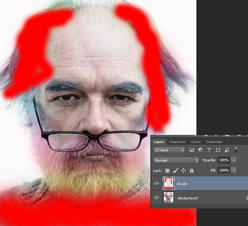 Red painted on brush layer over mans hair and shirt