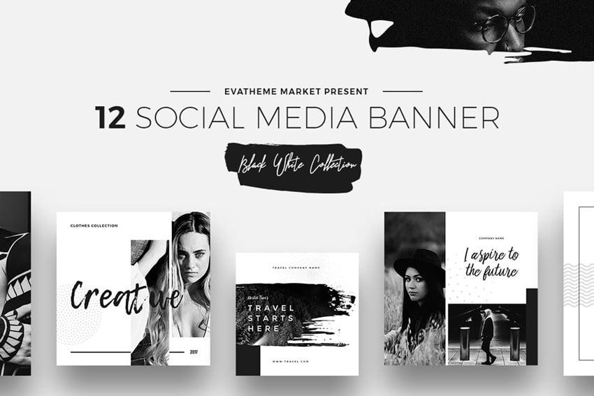 Black White Social Media Designs
