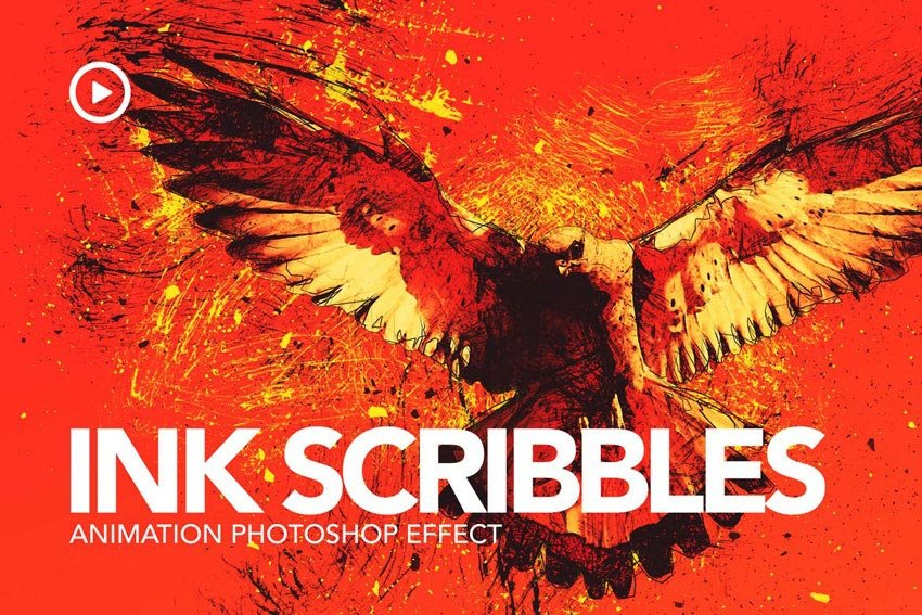 Ink Scribbles Animation Photoshop Action