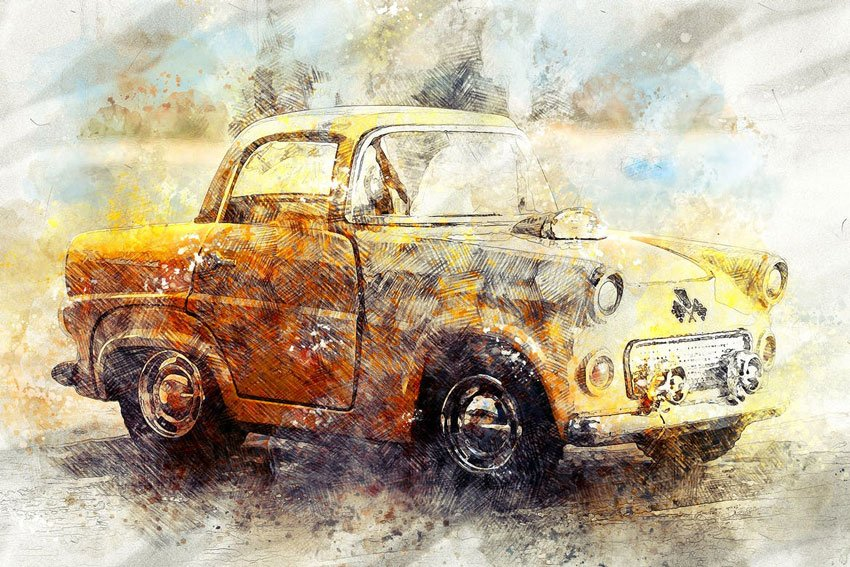 Pencil n Watercolor Photoshop Action