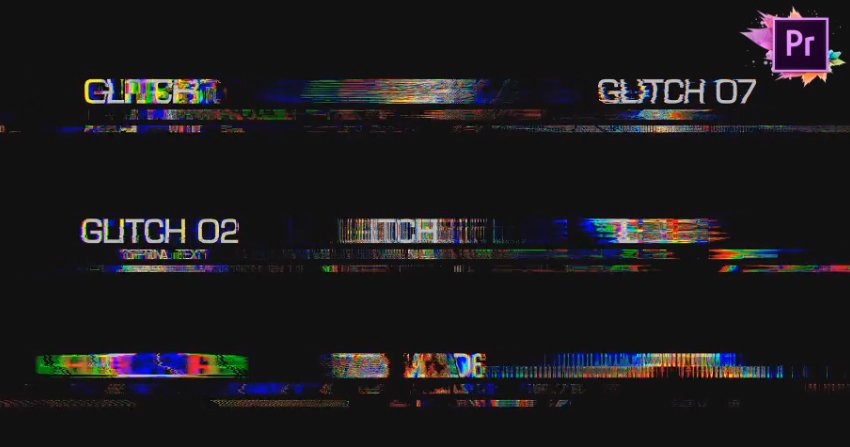 30 Glitch Text Presets  Mogrt