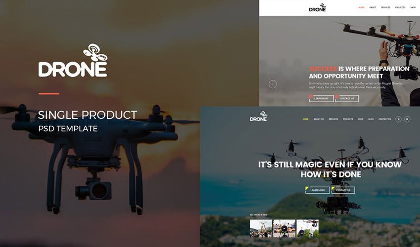 Drone Single Product PSD Template
