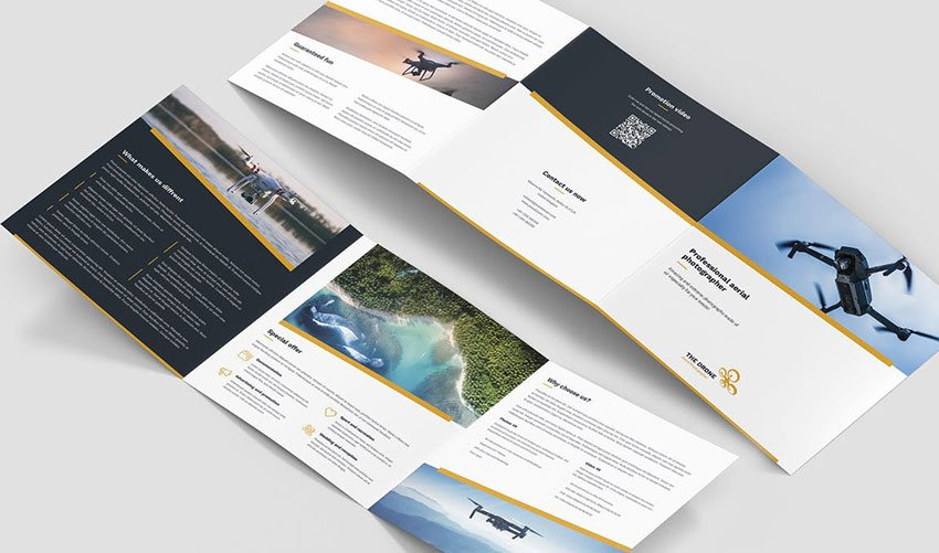 Brochure Drone Photographer Tri-Fold Square