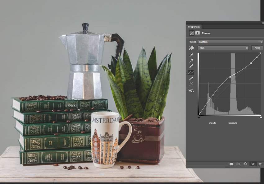 brighten the image with a curves layer