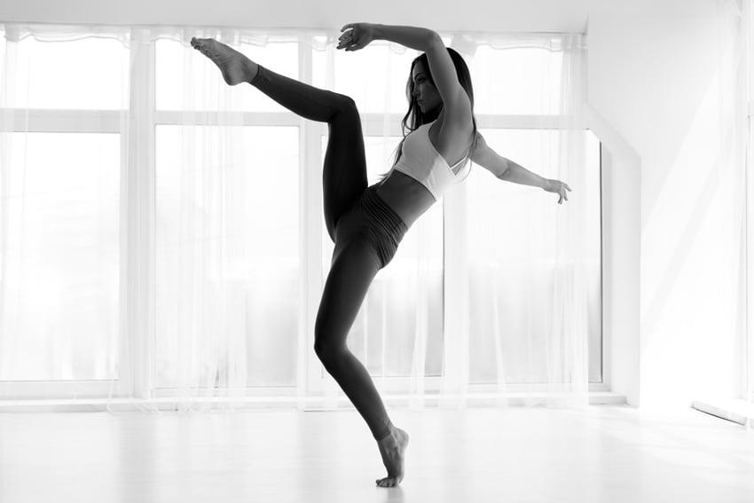Modern Dance Artist Dancing In Ballet Studio