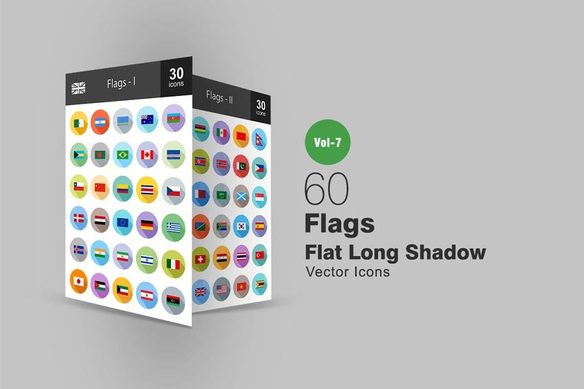60 Flags Flat Shadowed Icons