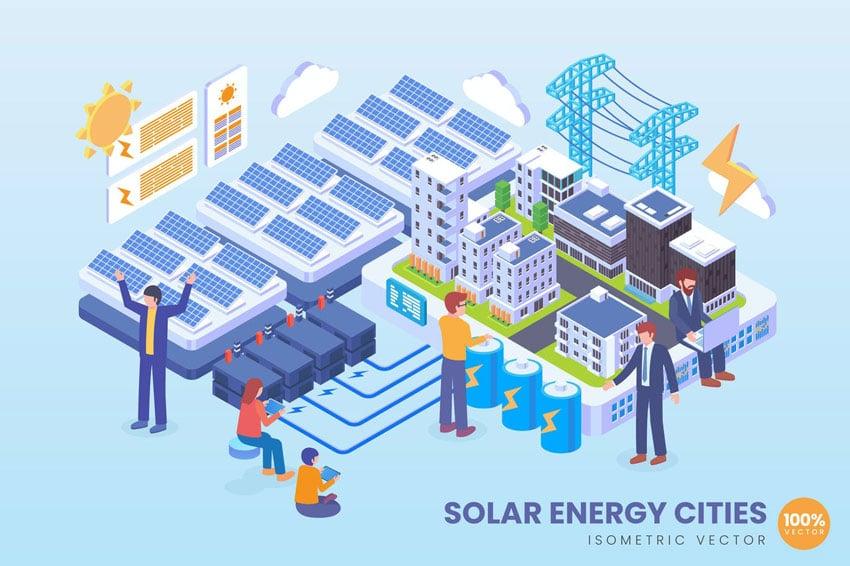 Isometric Solar Energy Cities Technology Vector