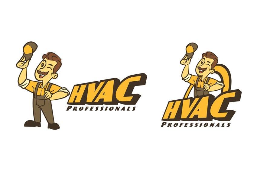 Retro Cartoon HVAC Guy Mascot Logo
