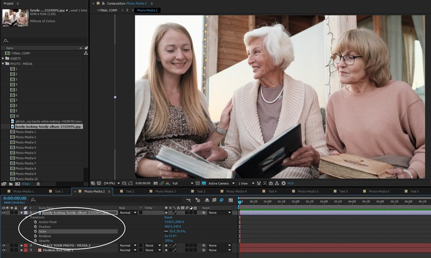 Resizing images or footage