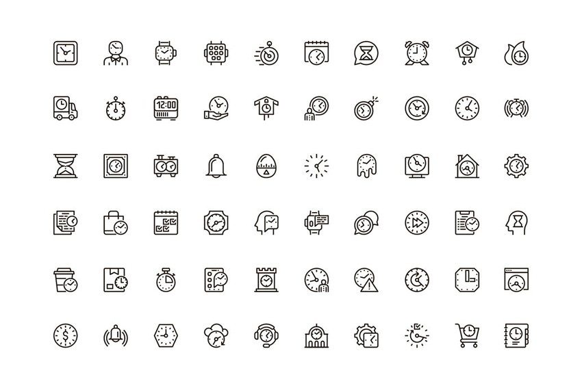 Time Unique Web Line Icons Pack - available from Envato Elements
