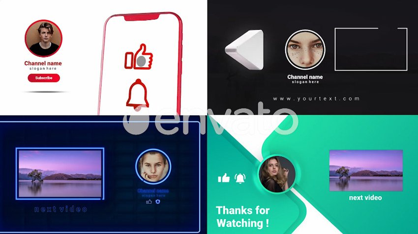 YouTube Trendy Endscreens available from Envato Elements
