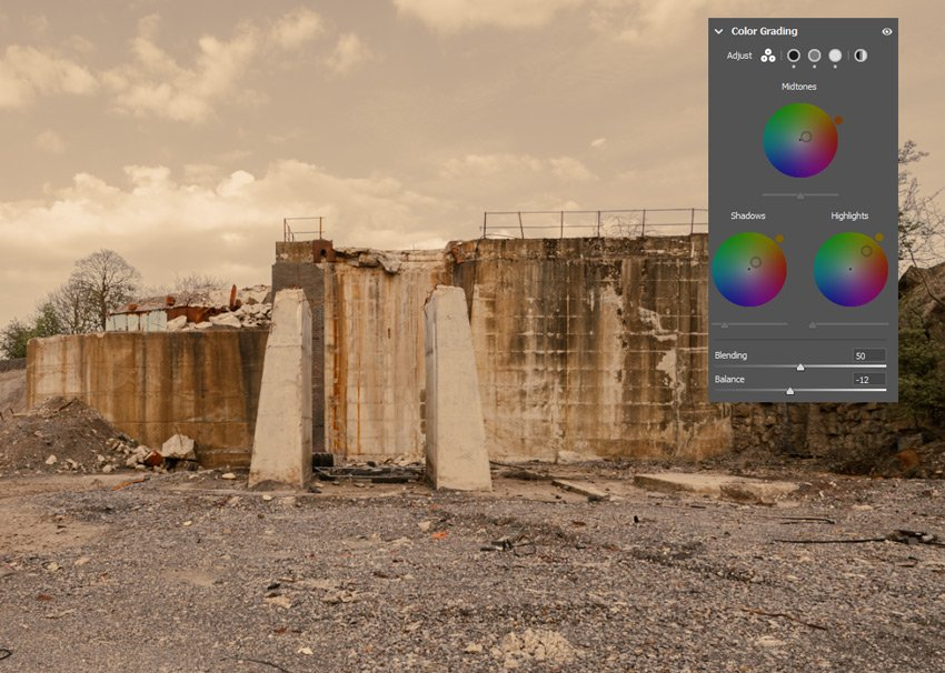 Image with colour grading changes shown