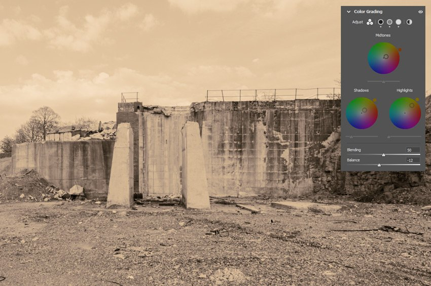 Colour grading changes shown on a black and white image