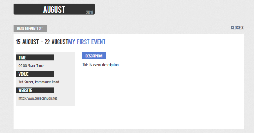Front-End Event Detail Page