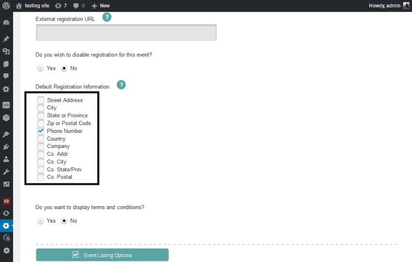 Enable extra fields for event registration