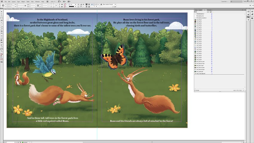 Ruan Spread In InDesign With Text Colour Change