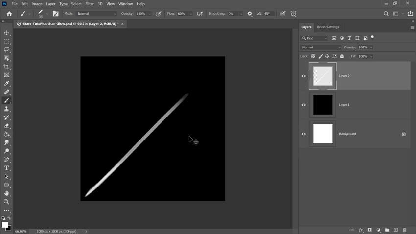 Base for Shooting Star Effect in Photoshop