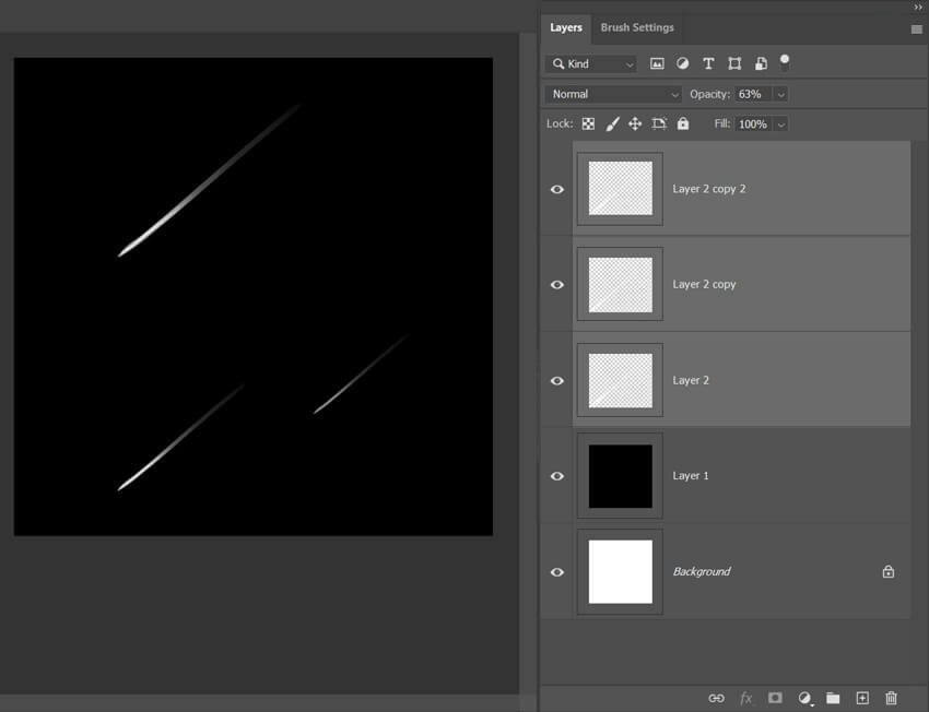Meteor Shower Shooting Star Effect in Photoshop