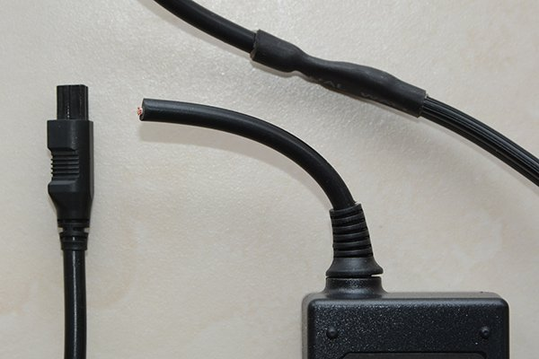 Output cable cut from the power supply unit