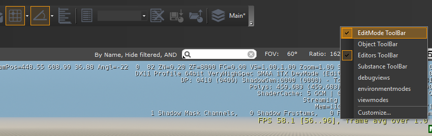 Editmode toolbar