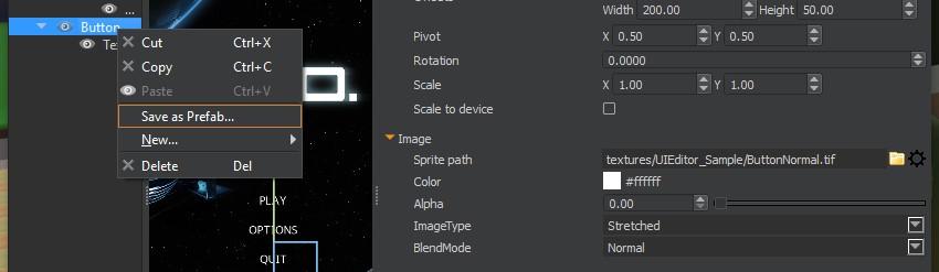 UI Editor - Button - Save as PreFab
