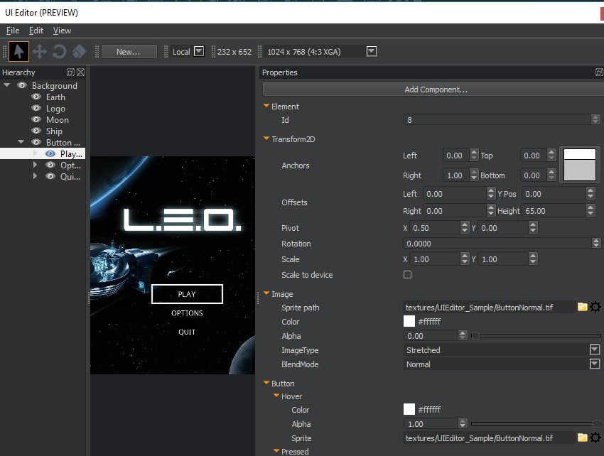 UI Editor with loaded canvas - Hierarchy and Properties pane