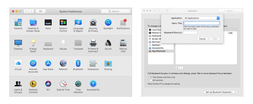 Custom keyboard shortcut for Sketch