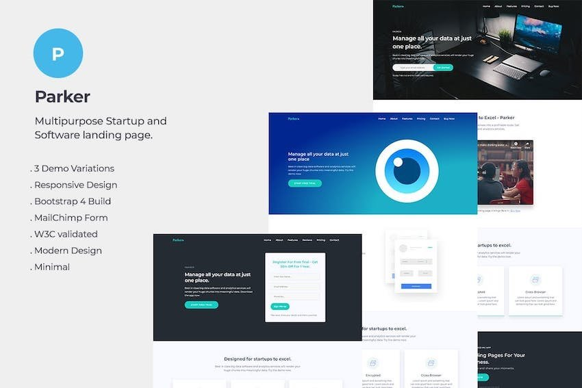 Parker Software and Startup Landing Page Template