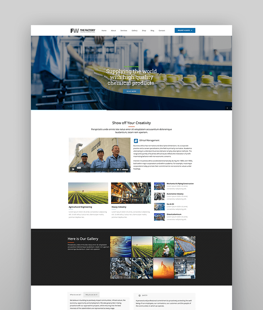 Manufacturing - Factory  Industrial Business WordPress Theme
