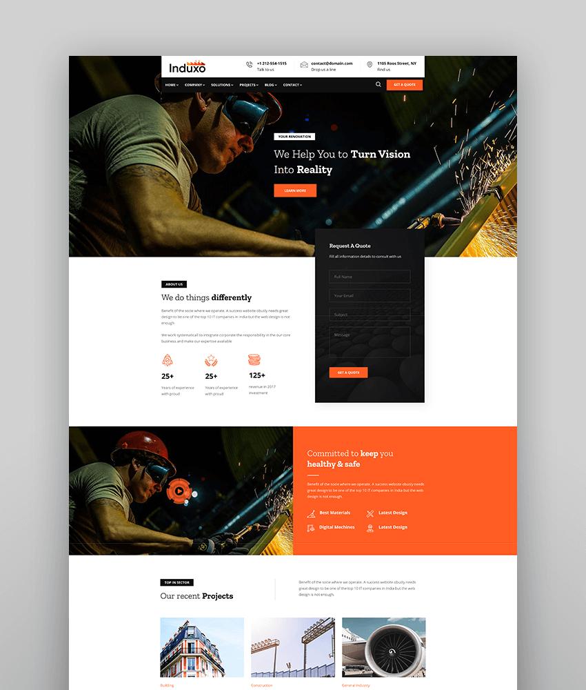 Induxo - Factory  Industrial WordPress Theme