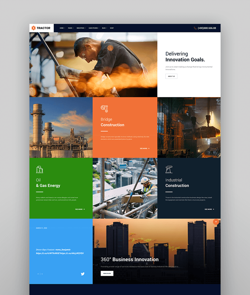 Tractor - Industrial Industry  Manufacturing WordPress Theme