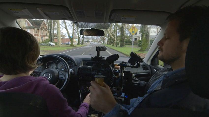 Using a gimbal inside a car