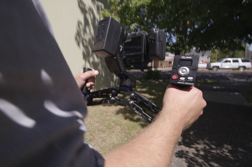 A wireless remote attached to a gimbal