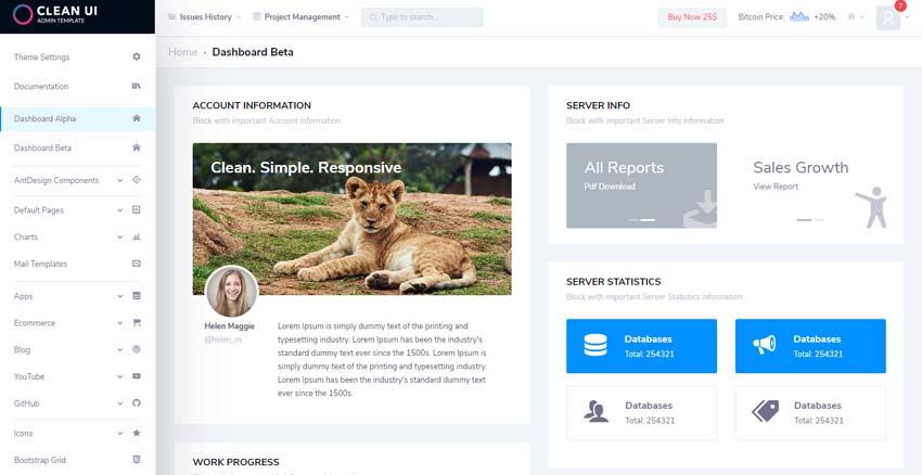 Clean UI ReactReact Redux Admin Template
