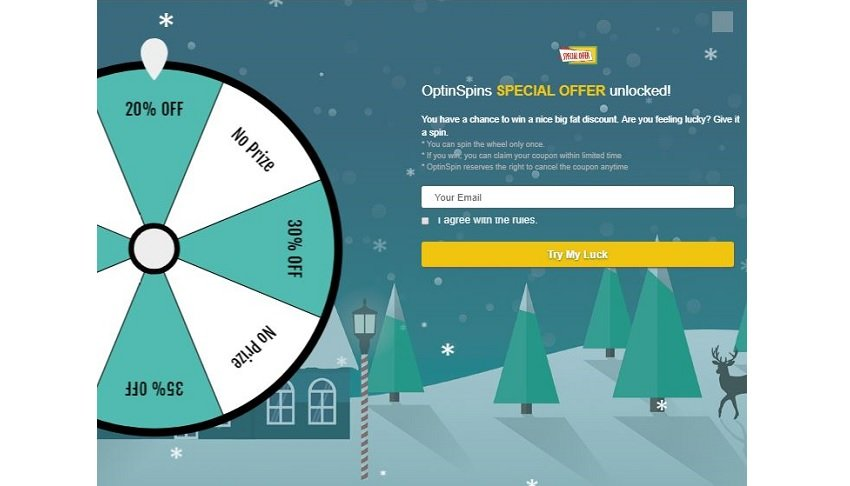 OptinSpin special offer plugin with spinning wheel