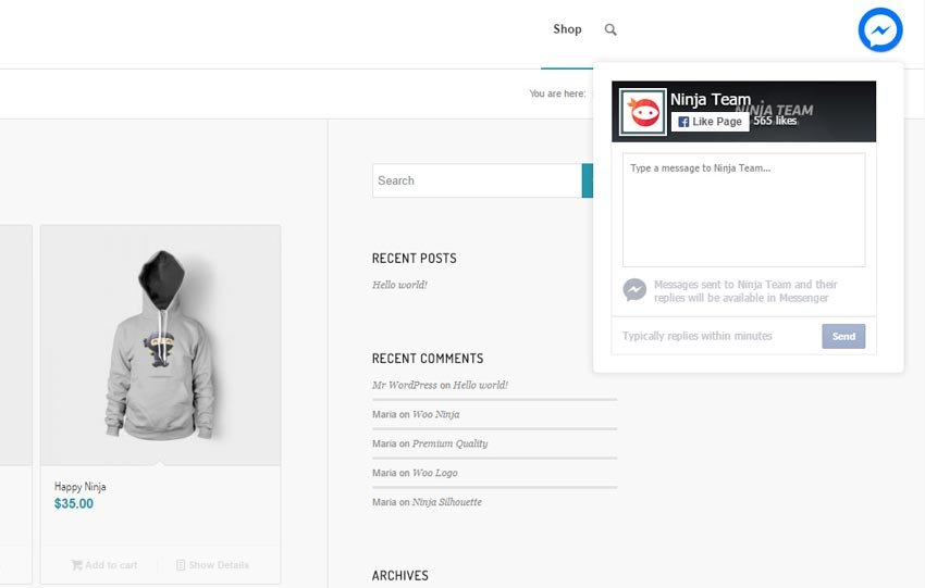 NinjaTeam Facebook Messenger WordPress Social Media Plugin