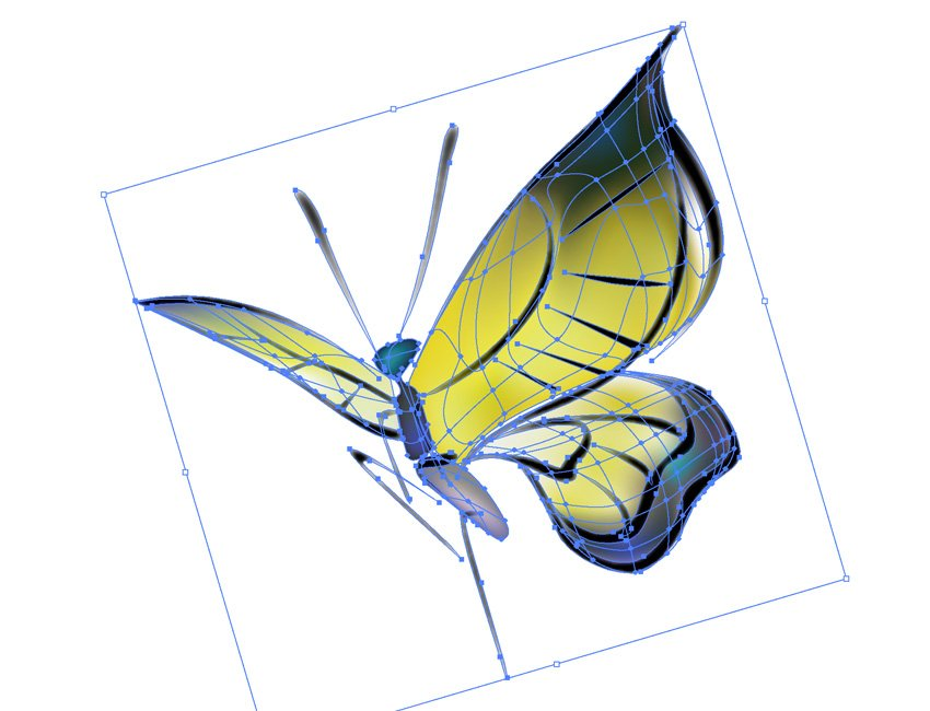 How to Draw Chinese Ink Paintings in Vector Butterfly Mesh Tool
