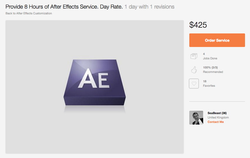 8 Hours of After Effects Service
