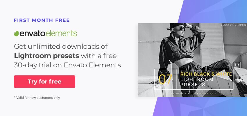 free month of unlimited downloads of Lightroom presets