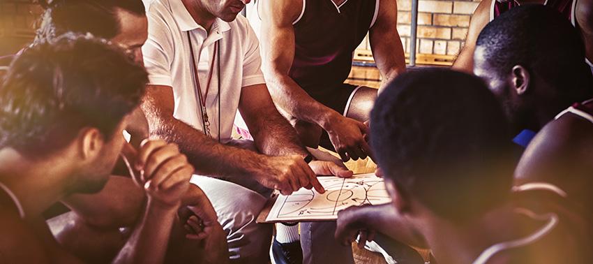 coach explaining game plan