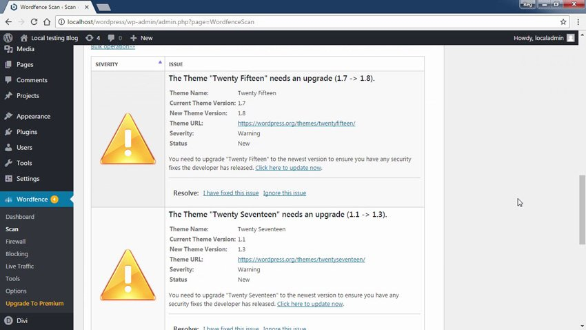 Screenshot from WordPress Security Top Tips