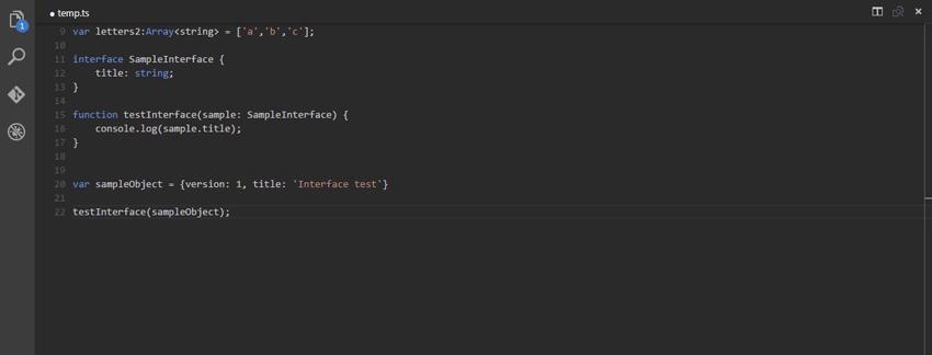 Sample interface code