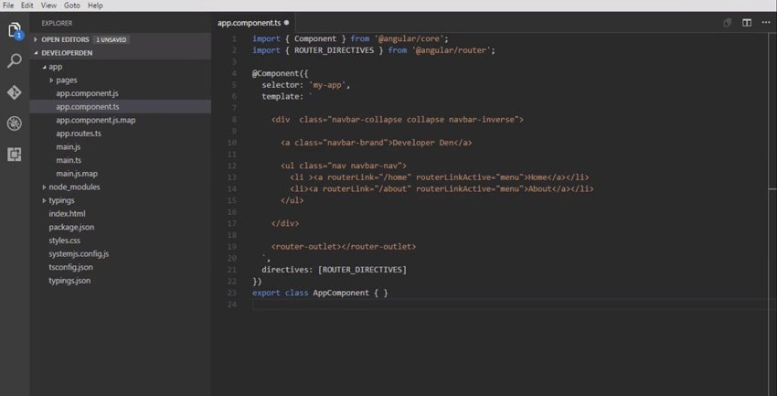 Code for the file appcomponentts