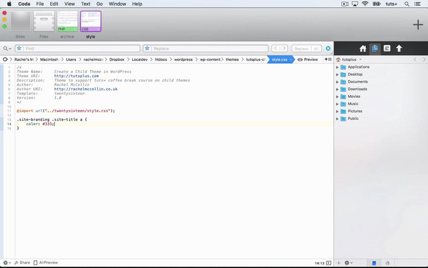 Code to create a child theme in WordPress
