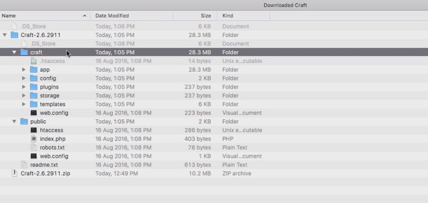 Craft file structure
