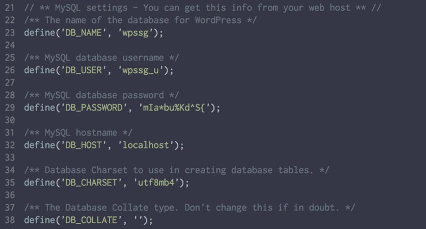 WP database settings