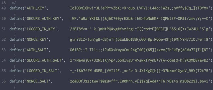 Secret WordPress keys